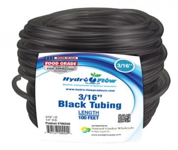 Black Vinyl Tubing - 3/16 in ID x 1/4 in OD - per foot