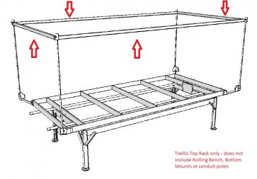 4ft x 8ft Low Tide Trellis Top Rack for Rolling Bench System