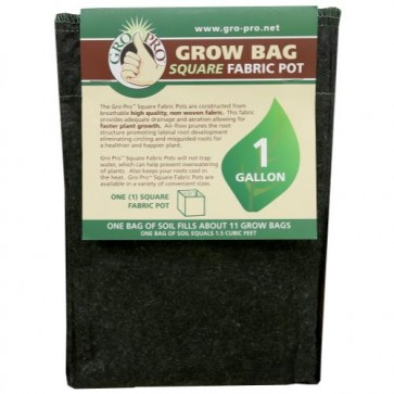 Gro Pro Square Fabric Pot 1 Gallon