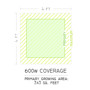 600w Grow Light Coverage